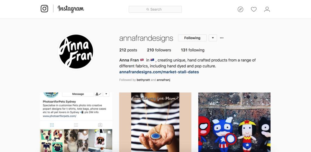 Anna Fran Designs' Instagram page