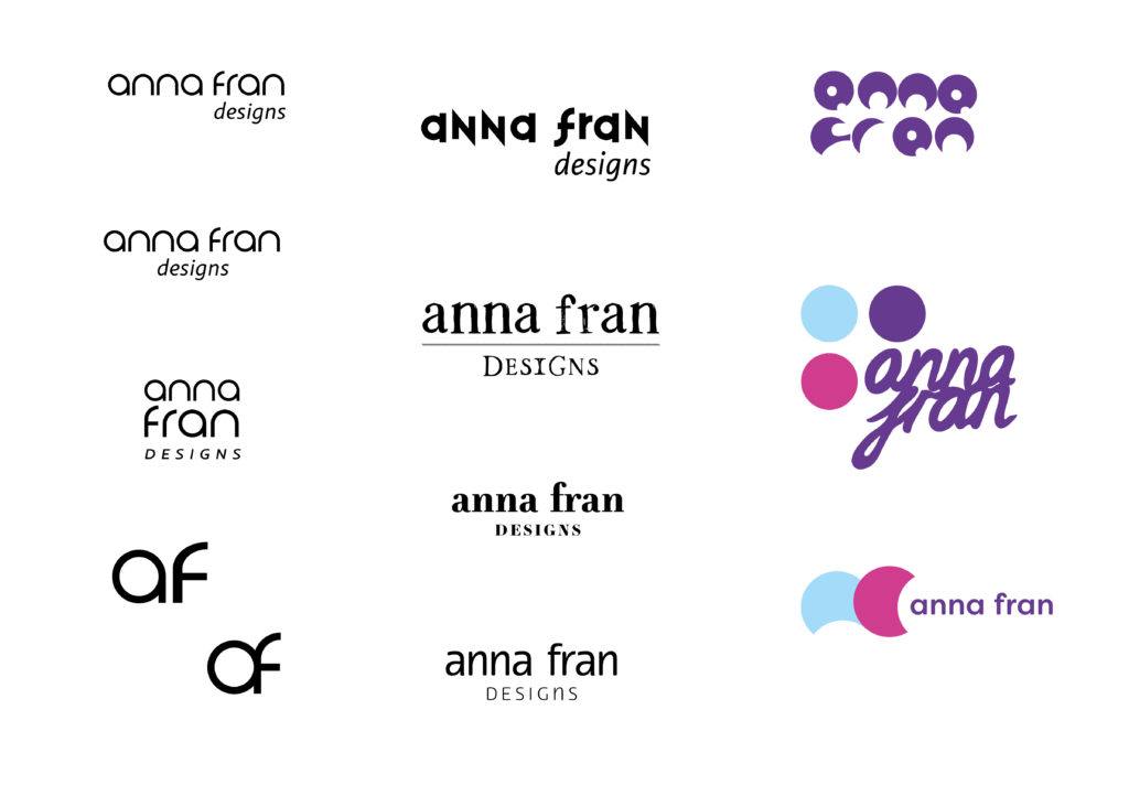Initial branding concepts for Anna Fran Designs