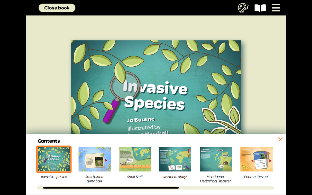 The contents section of Laura's ebook. Illustrated leaves are encroaching on the title 'Invasive Species' to give a sense of the theme of the book. At the bottom of the screen is a menu with thumbnails of the different sections of the book to help readers choose what they would like to read.
