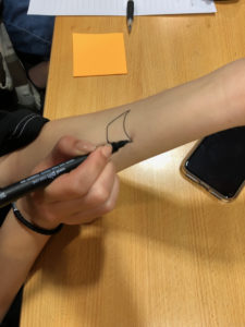 Draw on your arm.
