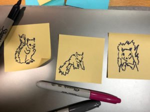 Use only post-it notes and a sharpie.