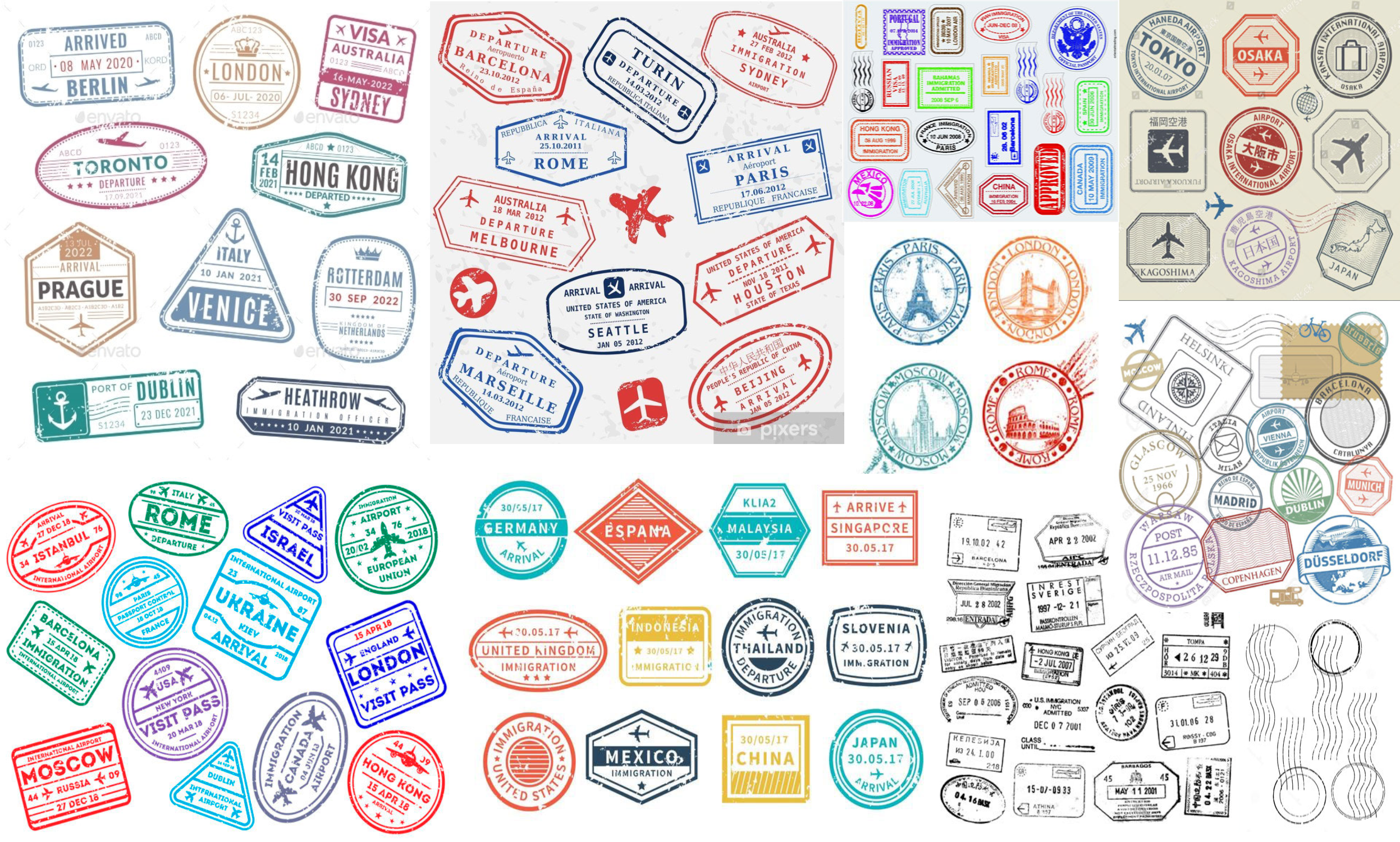 Travel stamps inspiration