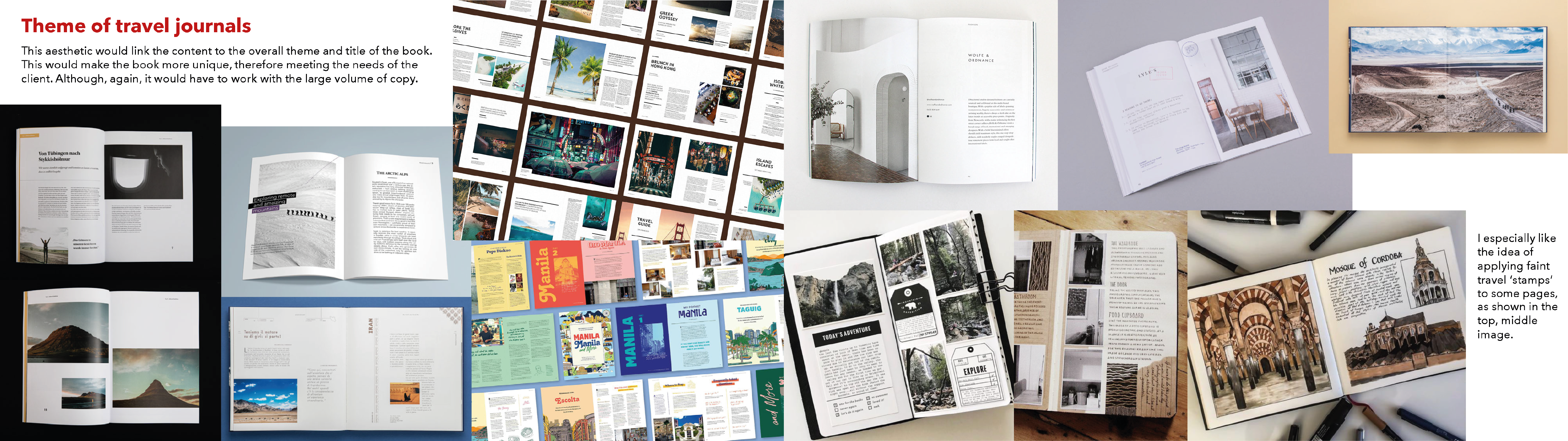 Mood boards on the theme of travel books
